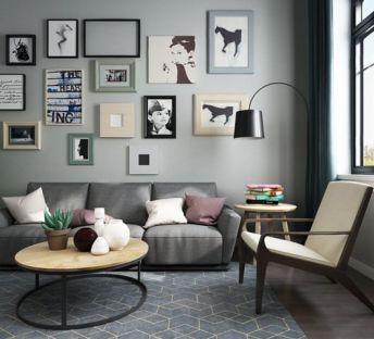 现代客厅沙发照片墙组合