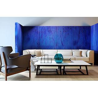 高档舒适沙发茶几组合3d模型