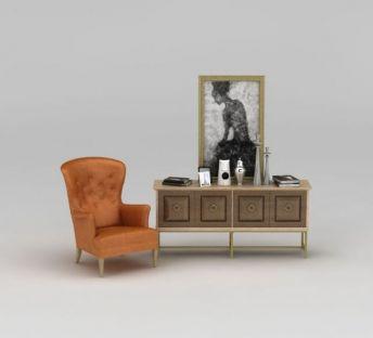 装饰柜单椅组合