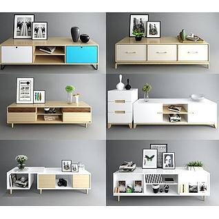 北欧电视柜组合3d模型3d模型