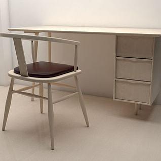 白橡木桌椅3d模型