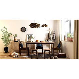 木质餐桌椅装饰柜组合3d模型