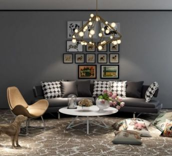 现代沙发座椅吊灯组合