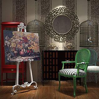 欧式时尚椅子画架组合3d模型3d模型