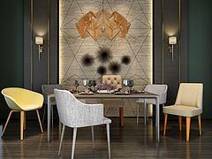 时尚北欧餐桌椅组合3D模型3d模型