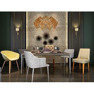 时尚北欧餐桌椅组合3d模型