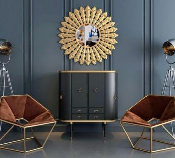现代柜子椅子墙饰品组合