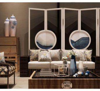 新中式客厅沙发椅茶几组合