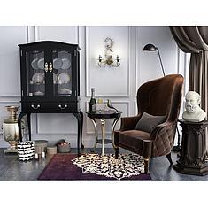 欧式餐边柜单人沙发椅组合3D模型3d模型