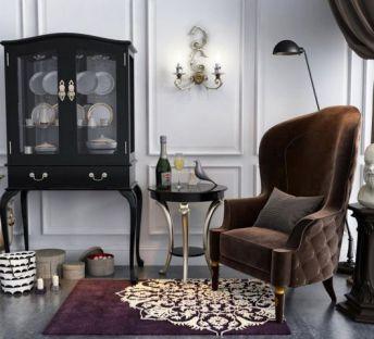 欧式餐边柜单人沙发椅组合