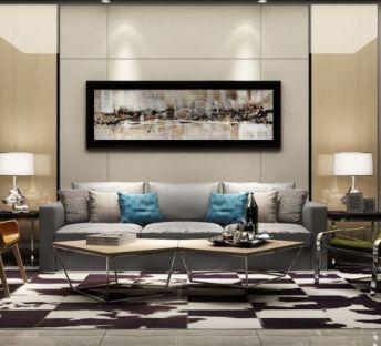 现代客厅沙发椅茶几组合