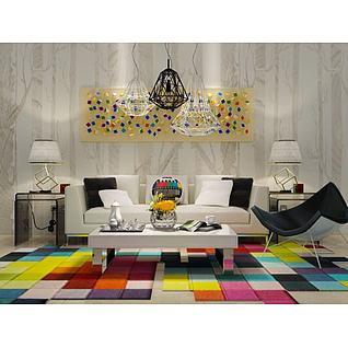 温馨客厅沙发茶几组合3d模型3d模型