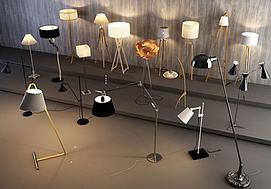 现代造型落地灯组合模型