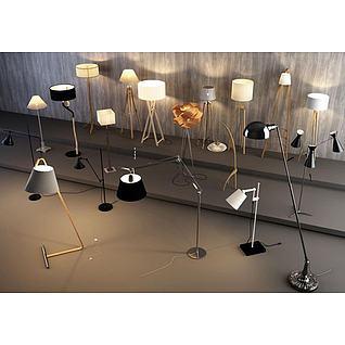现代造型落地灯组合3d模型