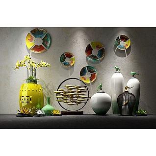 新中式花瓶彩色碟子墙饰组合3d模型3d模型