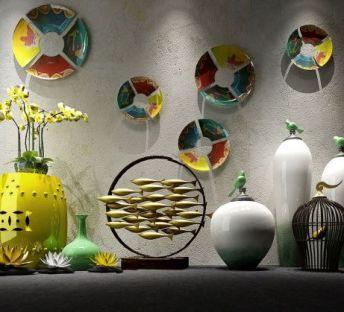 新中式花瓶彩色碟子墙饰组合