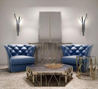 简欧沙发茶几创意壁灯组合
