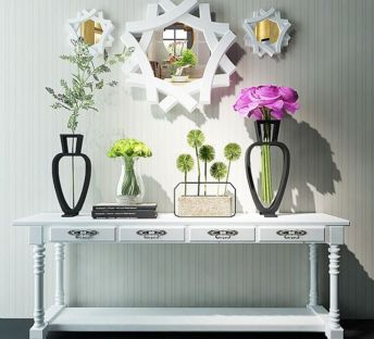 现代装饰柜陈设花艺组合