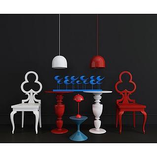 创意单椅装饰台组合3d模型