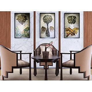 新中式餐桌椅挂画组合3d模型