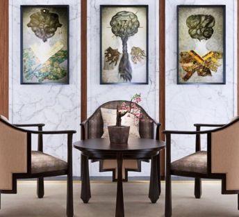 新中式餐桌椅挂画组合