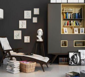 现代休闲躺椅书柜人像雕塑