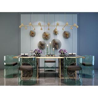 亚克力透明餐桌椅吊灯组合3d模型