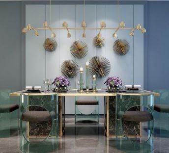 亚克力透明餐桌椅吊灯组合
