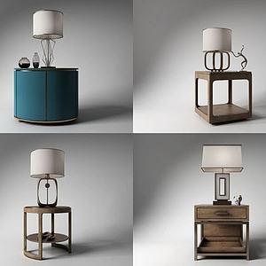 新古典角几台灯组合模型