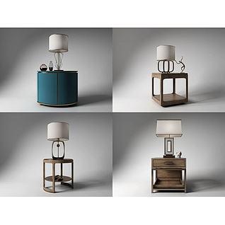 新古典角几台灯组合3d模型