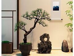新中式松树盆景假山石摆件模型3d模型