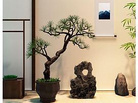 新中式松树盆景<font class='myIsRed'>假山</font>石摆件3d模型