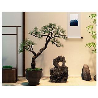 新中式松树盆景假山石摆件3d模型