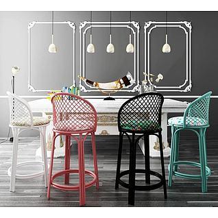 田园餐厅吧台吧椅3d模型