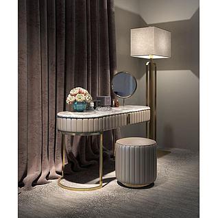 奢华梳妆台凳子组合3d模型