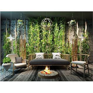 新中式沙发茶几植物墙组合3d模型3d模型