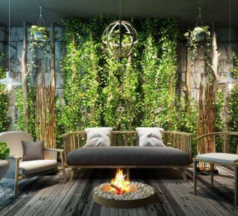 新中式沙发茶几植物墙组合