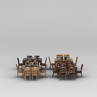 实木<font class='myIsRed'>餐桌</font>椅3d模型