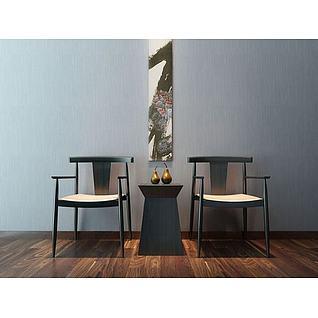简约中式椅子角几3d模型