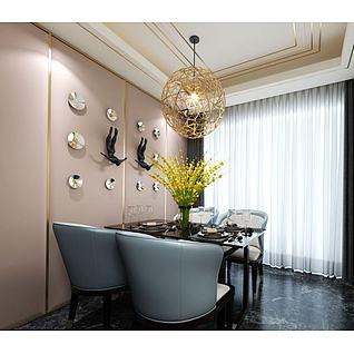 现代餐桌椅镂空吊灯3d模型