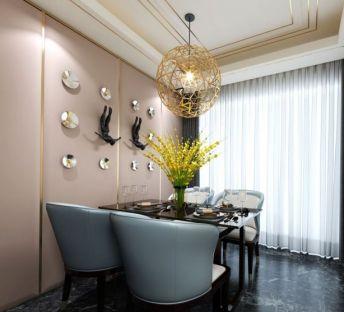现代餐桌椅镂空吊灯