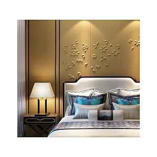 新中式卧室床具3d模型