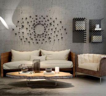轻简沙发茶几背景墙组合