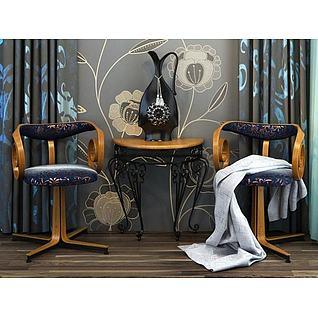 创意休闲茶桌椅3d模型