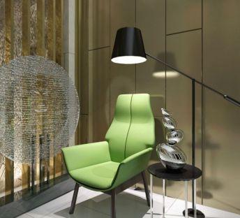 休闲单人椅子落地灯组合