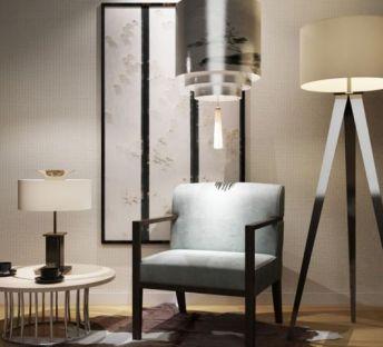 休闲椅茶几灯具组合