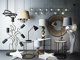 现代灯具组合模型