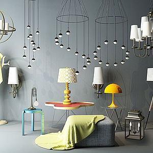 现代吊灯台灯组合模型