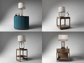 新古典台灯床头柜组合模型
