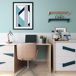 3d北欧书桌椅模型